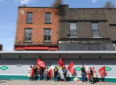 The work stoppage outside the site on Aungier Street in Dublin.