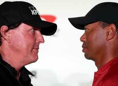 Tiger Woods and Phil Mickelson face off at their press conference.