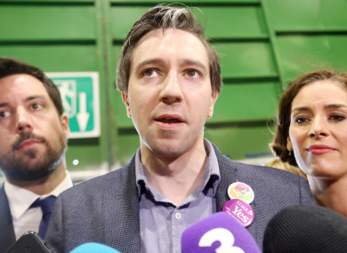 Minister for Housing Eoghan Murphy TD, Minister for Health Simon Harris TD and Kate O'Connell TD in the RDS, Dublin at the count this May.