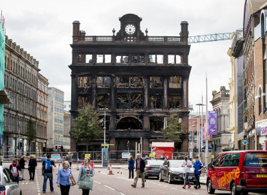The destroyed Primark store at the Bank Buildings in Belfast city centre