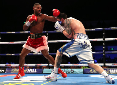 Kell Brook and Michael Zerafa in action during the Final Eliminator WBA Super-Welterweight Championship at the FlyDSA Arena, Sheffield.