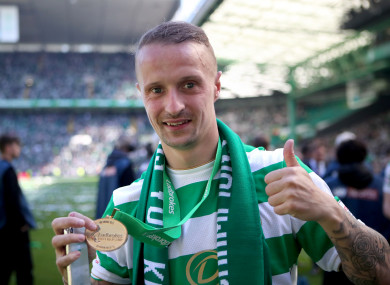 Griffiths celebrates winning the Scottish Premiership in May.