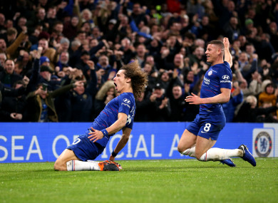 David Luiz and Ross Barkley celebrate Chelsea's second goal on Saturday.