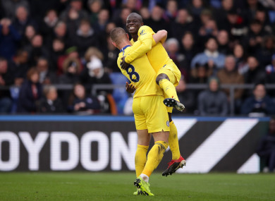 Kante celebrates with Ross Barkley after giving his side the lead.