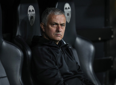 Jose Mourinho pictured during Wednesday night's match.