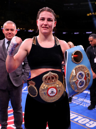 Taylor pictured after her victory in New York.