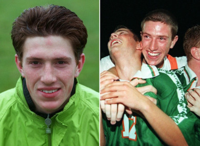 Delany at the 1999 World Youth Cup and celebrating at the U18s Euros a year before.