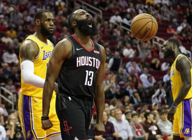 a81f85d5c1eb James Harden bags incredible 50-point triple-double as Rockets see off  LeBron s Lakers