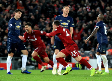 5872e9e79 Shaqiri inspires Liverpool to first Anfield win over Man United since 2013