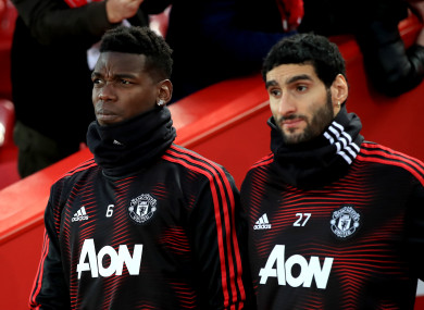 Manchester United's Paul Pogba (left) and Marouane Fellaini during the Premier League match last weekend at Anfield.