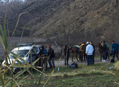 A security team is seen at the area where the bodies of two Scandinavian women tourists were found dead, near Imlil in the High Atlas mountains, Morocco