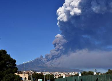 Smoke coming out of Mount Etna today