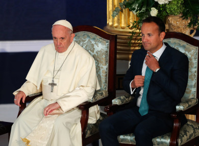 Pope Francis and Taoiseach Leo Varadkar sit in Dublin Castle.