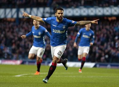 Rangers' Daniel Candeias (centre) celebrates scoring.