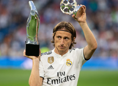 Luka Modric of Real Madrid wiith the trophy after being named UEFA Champions League Player of the Year last September.