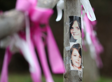 Photographs of Nicola Fellows (top) and Karen Hadaway near their memorial tree in Wild Park in Brighton, East Sussex, where their bodies where found together following their murders in 1986
