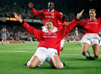 Ole Gunnar Solskjaer celebrates the winning goal in the 1999 Champions League final.