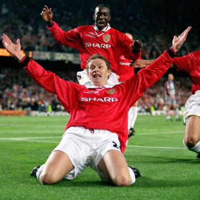 Ole Gunnar Solskjaer celebrates the winning goal in the 1999 Champions League final.