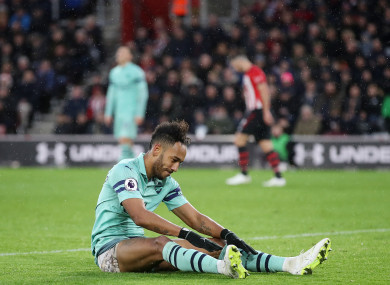 Arsenal's Pierre-Emerick Aubameyang appears dejected.