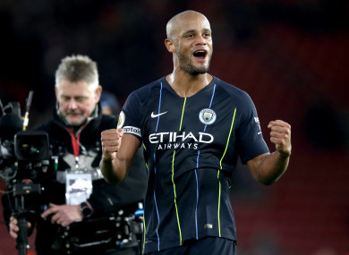 Kompany celebrates as City move back into second place.