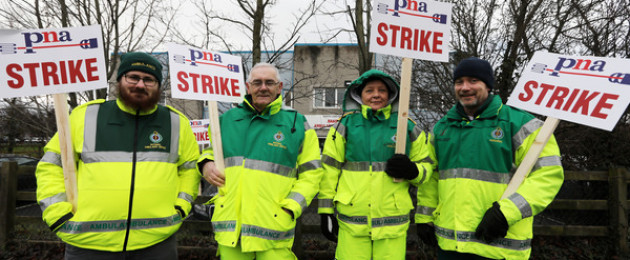 Ambulance drivers/Paramedics who are members of the Psychiatric Nurses Association stage a ten-hour strike at Naas hospital Kildare earlier today.