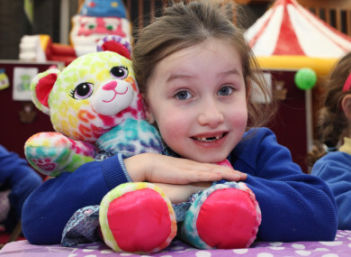 Mia from Scoil Mhuire National School, Oranmore, Co. Galway, with teddy bear, mini Mia who is suffering with a sore ear and brown paw.