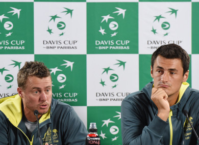 Lleyton Hewitt (left) and Bernard Tomic during Davis Cup preparation in 2016.