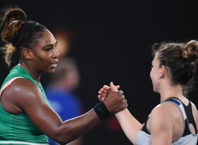 Serena Williams and Simona Halep at the end of their clash in the Australian Open.