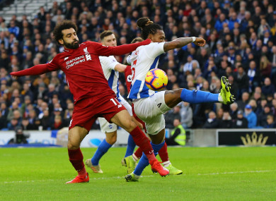 Mohamed Salah in action on Saturday.