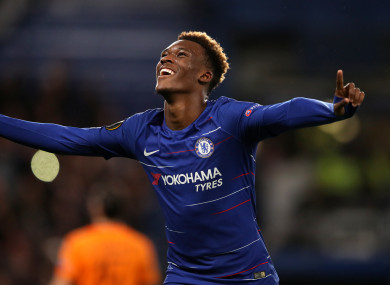 Hudson-Odoi celebrates scoring for Chelsea in the Europa League.