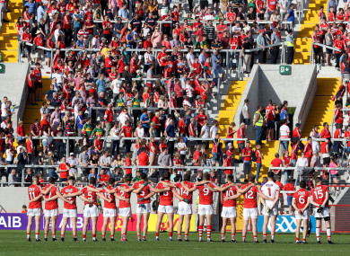 Cork's team stand for the national anthem before last year's Munster final.