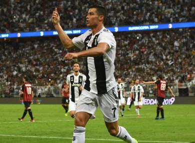Cristiano Ronaldo celebrates his goal.