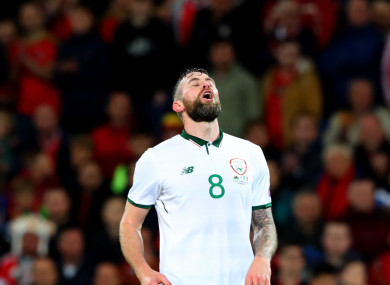 Daryl Murphy in action for Ireland during the memorable World Cup qualifier in Cardiff.