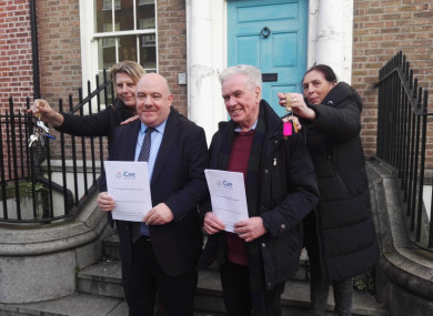 Jane (far left), David Hall, Fr Peter McVerry and Anna, in Dublin today.