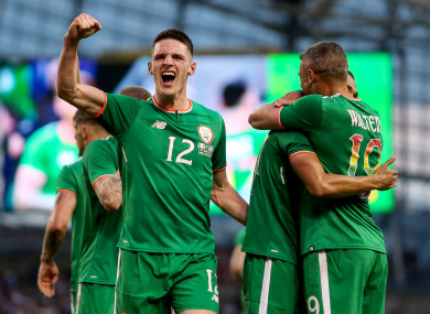Declan Rice, Jon Walters and Graham Burke celebrate in June.