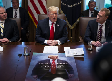 U.S. President Donald Trump speaks beside David Bernhardt, acting U.S. secretary of interior, left, and Patrick Shanahan, acting U.S. secretary of defense, during a cabinet meeting in the Cabinet Room of the White House yesterday.