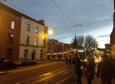 The stalled Luas tram this morning.