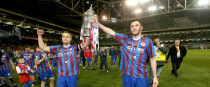 Brennan lifting the FAI Cup with Pat's captain Ger O'Brien in 2014.