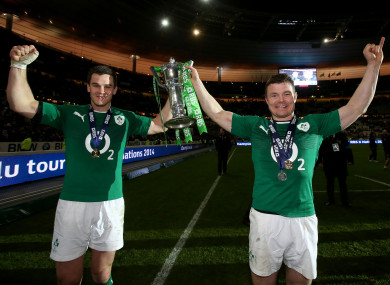 Sexton and O'Driscoll celebrate Ireland's 2014 Six Nations win.