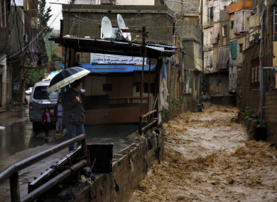 A river that overflowed from rain water in Beirut, Lebanon