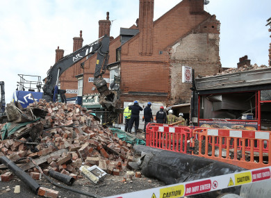 The scene on Hinckley Road in Leicester after the explosion and subsequent fire that destroyed the Polish shop.