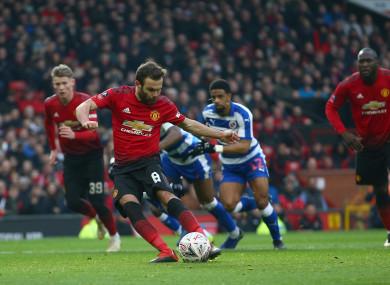 Juan Mata scores from the penalty spot.
