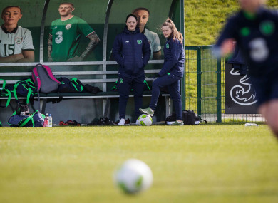 Campbell forced to assume a spectator role at Irish training, along with Tyler Toland.