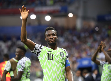 Mikel captained Nigeria at last summer's World Cup.