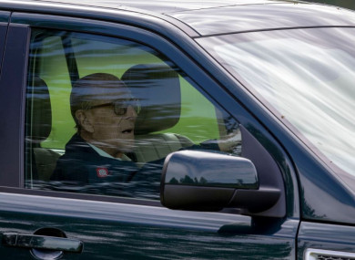 Prince Philip pictured driving last May.
