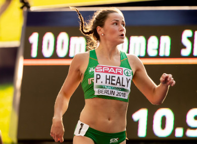 Healy currently holds the record for both the Irish 100m and 200m.