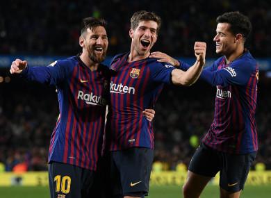 Barcelona's stars celebrate.