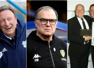 Leeds manager Marcelo Bielsa (centre) this weekend got a taster for English football culture.