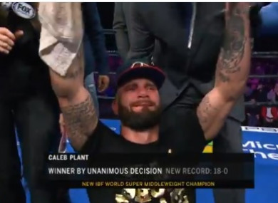 Caleb Plant is overcome with emotion as he's crowned IBF World super-middleweight champion.
