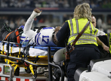 Dallas Cowboys wide receiver Allen Hurns is taken from the field after injury against the Seattle Seahawks.